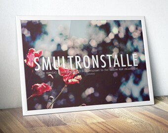 Smultronstalle Inspiring Words Typographic Print - Wanderlust Poster, Happy Quote Wall Art, Typographical, Nice Gift for Mom,