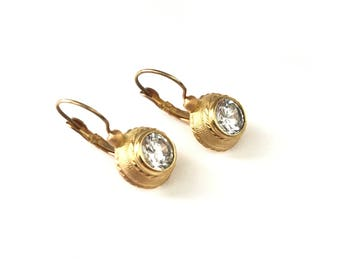 Gorgeous Vintage Old World Style CZ Gold Plated Lever Back Earrings