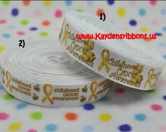 3 yards Childhood Cancer Awareness - 7/8 inch or 1 inch Printed Grosgrain Ribbon - CHOOSE DESIGN