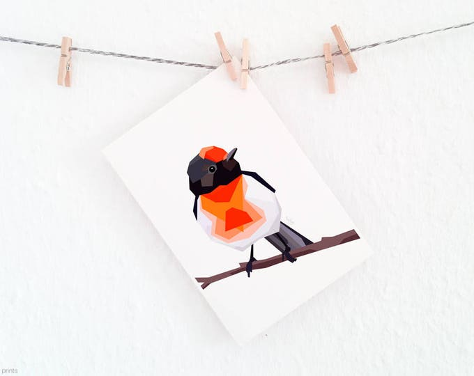 Red Capped Robin, Robin illustration, Australian robin, Australian bird, Australian wildlife, Red and black print, Red robin, Robin wall art