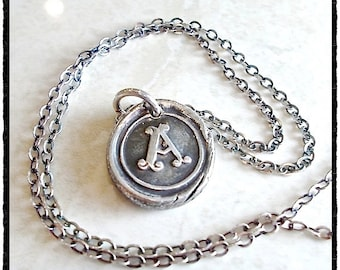 Antique Wax Seal Jewelry Silver Initial Pendant