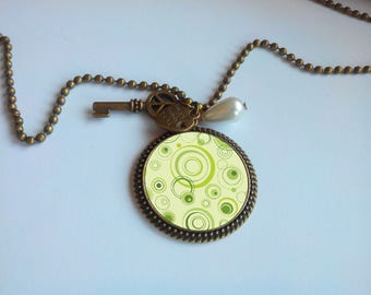 Long fashion - 'my green circles' cabochon pendant necklace