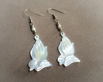 Vintage Hand Carved Mother of Pearl Prayer Hand Earrings from Bethlehem