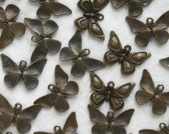 Brass Charm - Butterfly Charm - Jewelry  Making Supplies (6 pieces) 3/4 inch