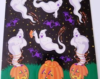 Vtg AGC Sticker Sheet Halloween Ghosts 90's bats pumpkin patch