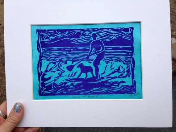 Dawg on Board 8 x 10 matted print image 5 x 7 linocut