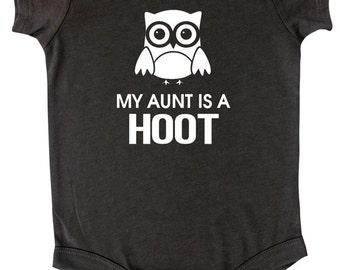 "Rocket Bug ""My Aunt is a Hoot"" Baby Bodysuit"