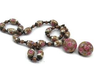 Gold Pink Mauve Necklace Clip Earrings Set Venetian Wedding Cake Murano Glass Beads Wedding Bridal Jewelry Vintage Costume Jewelry paula