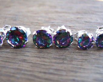 Mystic Topaz and sterling silver earring studs