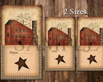 Printable Primitive Hang Tags - Digital Price Tags - Saltbox House