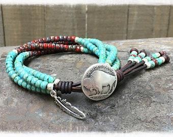 Beaded Wrap Bracelet/ Native American Bracelet/ Seed Bead Leather Wrap Bracelet Southwestern Style/ Boho wrap bracelet/ Bohemian Bracelet.