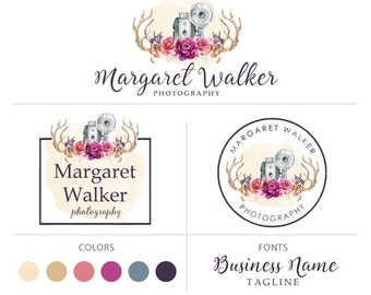 Premade logo package photography logo camera logo rustic logo branding kit logo design