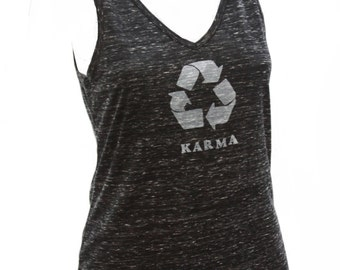 Karma | Soft Lightweight V-neck tank top | What goes around comes around | Zen