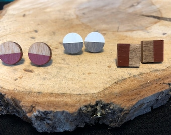 Wood stud earrings, wood earrings, wood jewelry, canadian jewelry, geometric earrings