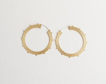 Large Gold Hoops, Gold Statement Hoops, Large Hoop Earrings, Geometric Circle Hoops, Minimal Hoop Earrings | Azur Hoops
