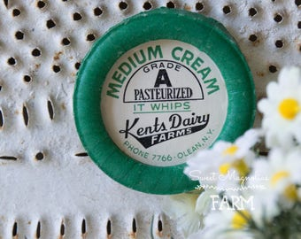 Vintage Kents Dairy Farms Medium Cream Milk Bottle Cap Magnet - Wax Cap - Advertising - Kitchen - Farmhouse Decor -