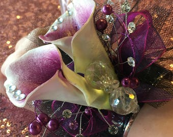 Prom Corsage 2018 Trending Purple White Diamond Cala Lily Gems