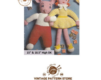 """15"""" Pig toy and 18.5"""" high knitted doll in DK - Vintage PDF Knitting Pattern 1733"""