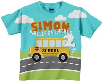 Boy's School Bus Shirt, Personalized Schoolbus Birthday T-Shirt, First Day of School Shirt