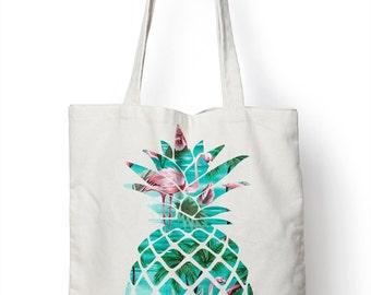 Flamingo Pineapple Tote Bag Shopper Girls Make Up Shopping M118