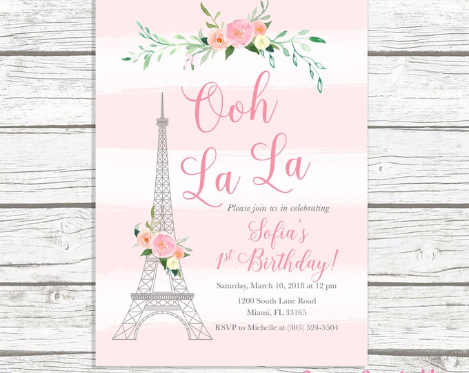 Paris Birthday Invitation, Eiffel Tower Invitation, French Parisian Birthday Invitation, Ooh La La Invite, 1st First Birthday Invitation