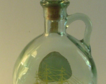 1971 Old Fitzgerald Old Ironsides Whiskey Decanter 4/5Qt Green Bottle
