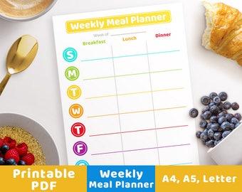 Weekly Meal Planner- Rainbow Circles, Printable Menu Planner, Meal Planner A5, Meal Planner Inserts, Meal Planning, Meal Planner PDF