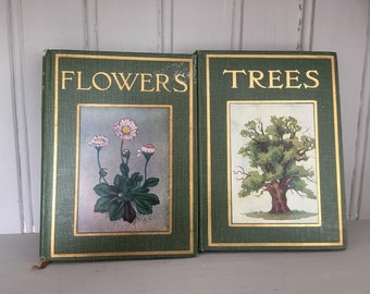 Pair of Vintage Children's Books Trees and Flowers
