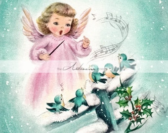 Printable Instant Download - Vintage Christmas Angel Blue Birds Sing Snow Holly Berries Card Image - Paper Crafts Scrapbooking Altered Art