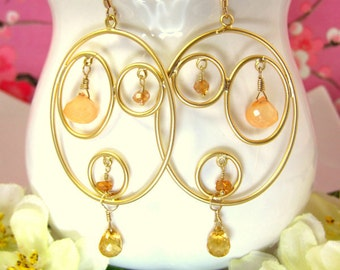 Gold triple hoop oval citrine peach chalcedony earrings, peach hoop earrings, peach abstract gold earrings, coachella large gold hoops