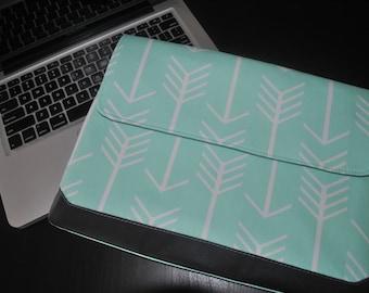"Laptop case, macbook pro 13"", women's laptop, laptop sleeve, computer bag, mint arrows, aztec arrow,gray, leather, teal, MacBook Pro sleeve"