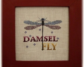 "Cross Stitch Instant Download Pattern ""Damselfly"" Counted Embroidery Chart. Wings. Insect. Turquoise Graphics & Designs. X stitch."