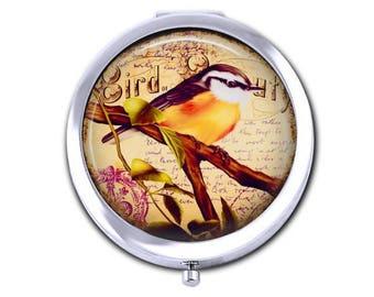 Bird pocket mirror,  vintage sparrow compact mirror, bird flower collage purse mirror, Mothers Day gift for her.