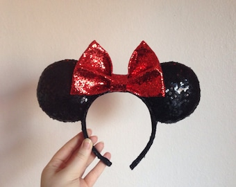 Black Sequin and Red Glitter Minnie Ears // Full Sequin Mouse ears