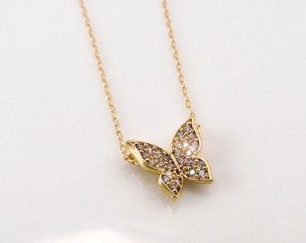CZ butterfly necklace, gold butterfly, gold filled necklace, cubic zirconia necklace, silver butterfly