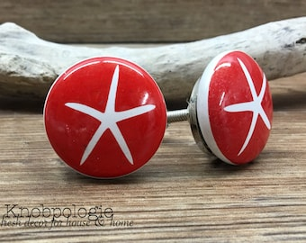 """CLEARANCE - Discounted Slightly Imperfect SET OF 2 - 1.5"""" Red and White Starfish Knob - Nautical Theme Drawer Pull - Sea Star"""