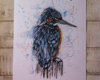 Kingfisher print, Kingfisher gift, Bird lover gift, Kingfisher, Bird art, Kingfisher art, Wildlife art, Kingfisher illustration,