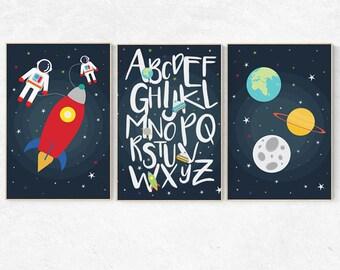 Outer space nursery Art Set, alphabet nursery, set of 3 prints, modern nursery decor, Boy, kid room decor rocket ship, baby boy nursery