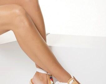 """Boho wedding sandals, Embellished sandals, Leather flat sandals, Bridal flats, T-strap sandals, """"Lydia"""""""