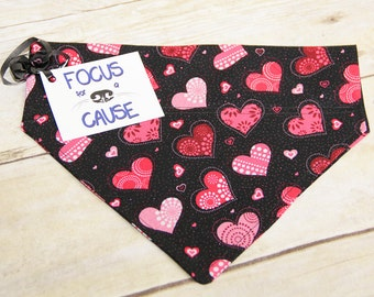 Double Stitched Valentine's Day Dog Bandana, Over the Collar Dog Bandana (Collar Not Included), Slip Over the Collar, Hearts, Valentine
