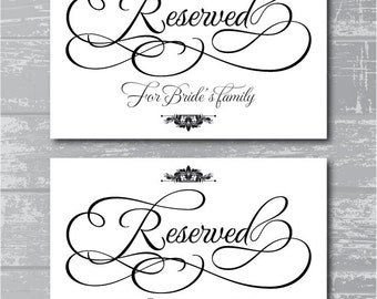 instant download reserved for the wedding party signs