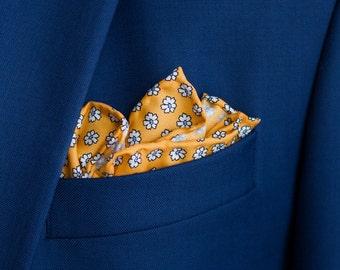 Tangerine floral silk pocket square, Hand rolled silk pocket square with flowers, Yellow silk pocket square, Mens luxury handkerchief