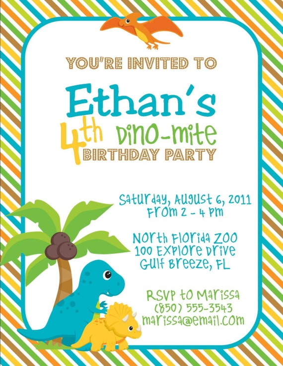 Dinosaur Birthday Party 5x7 Invitation Boy DIY Printable