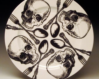 10.5 pouces motif tête de mort Pinwheel spirale assiette