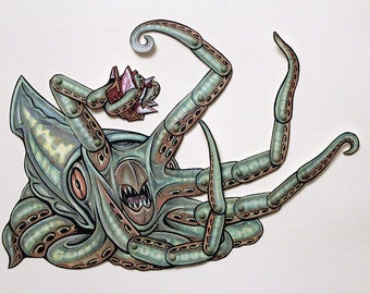 Kraken Articulated Paper Doll - Mythical Giant Squid