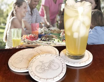 Bicycle Drink Coasters,  Absorbent Coasters, Beach House, Barware