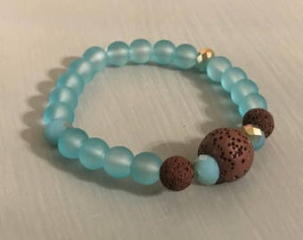 Aqua Beads and Brown Lava Rock Diffuser Bracelet
