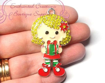 Holiday Girl With Present Christmas Charm, Chunky Pendant, Keychain, Bookmark, Zipper Pull, Chunky Jewelry, Purse Charm