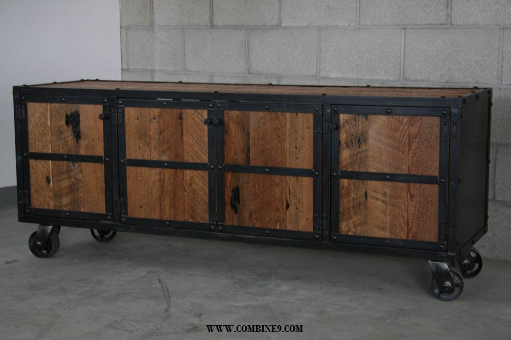 Well known Reclaimed Wood Media Console. Industrial Credenza. Modern EK86