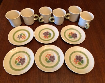 Set of Six (6) Vintage 1960s Franciscan Floral Pattern Coffee Cups and Saucers